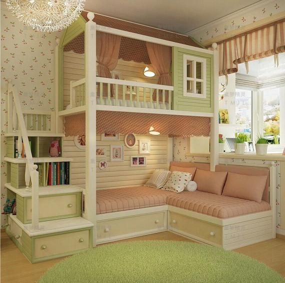 Made to order gorgeous cottage bunk bed with stairs is part of  - CUTE COTTAGE BUNK BED 2 X SINGLE BEDS  mattresses not included can be made to fit any bed size, just let us know whats required   can be painted any colour(s) upholstery is not included  delivered worldwide