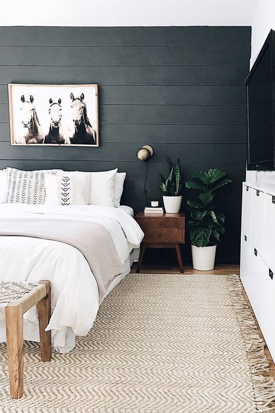 Bold Black Accent Wall Ideas Bedroom Interior Scandinavian