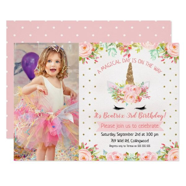 girls floral unicorn birthday invitation  zazzle