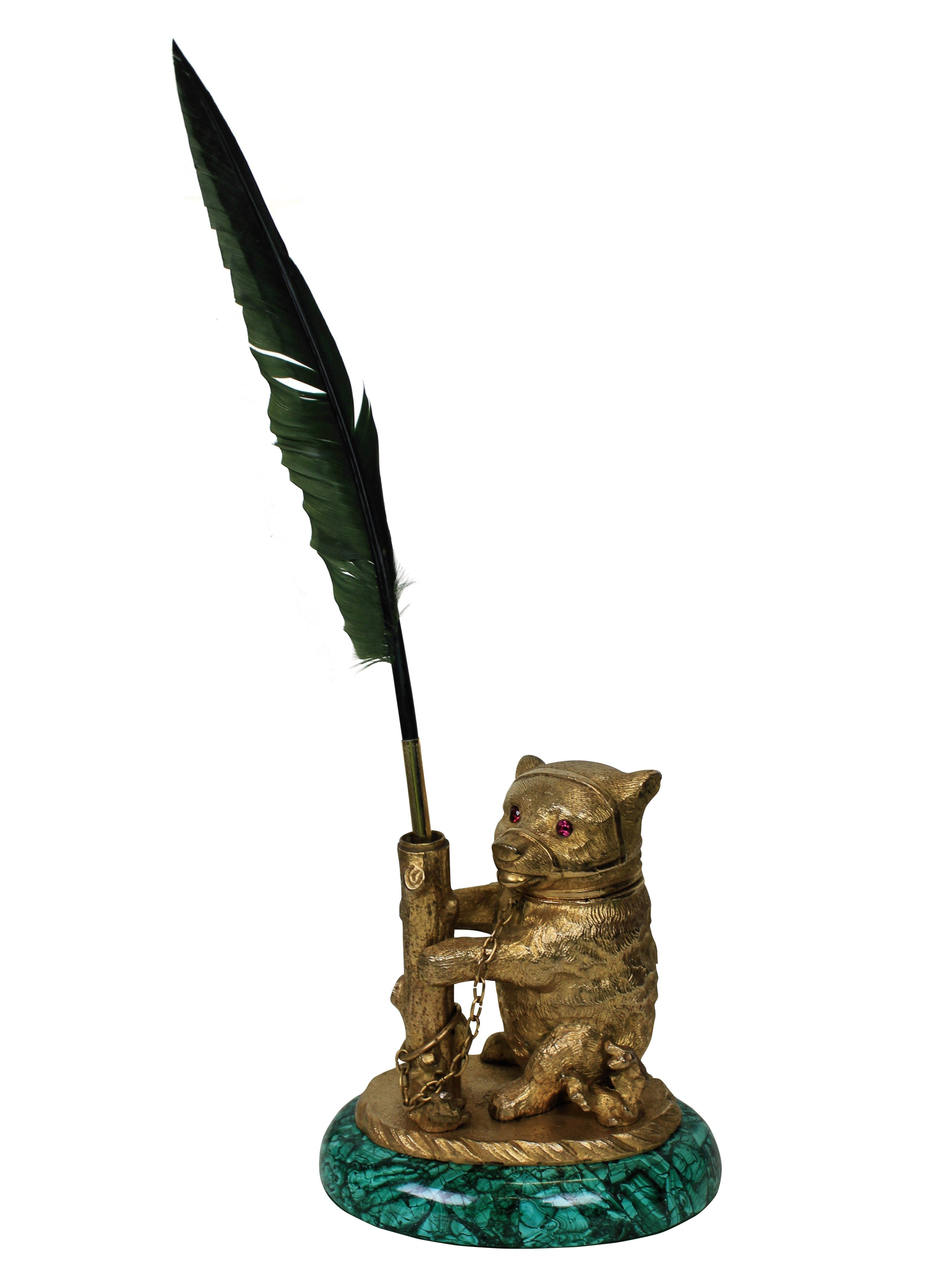A fine Russian encrier (ink pot) in the form of a bear in ormolu, with ruby eyes and on a malachite base. c.1890 Measures: 14cm high x 17cm wide x 9cm deep