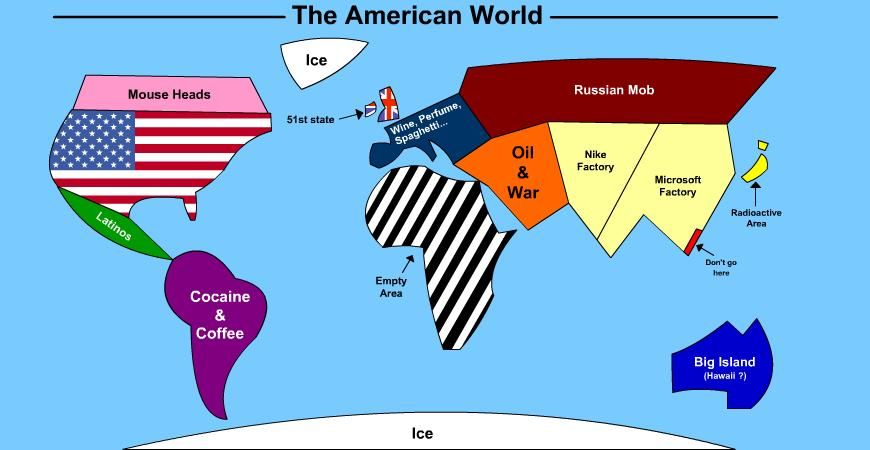 How America Sees The World Map.How Americans See The World You Know It S True Geography