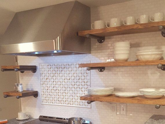 Set Of 3 Floating Shelves Open Kitchen 10 Depth W Pipe Support Brackets Shelving