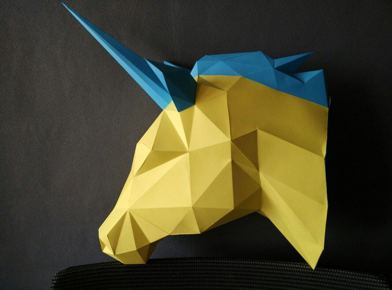 Magical Model Unicorn Papercraft Paper Trophy Head Origami DIY
