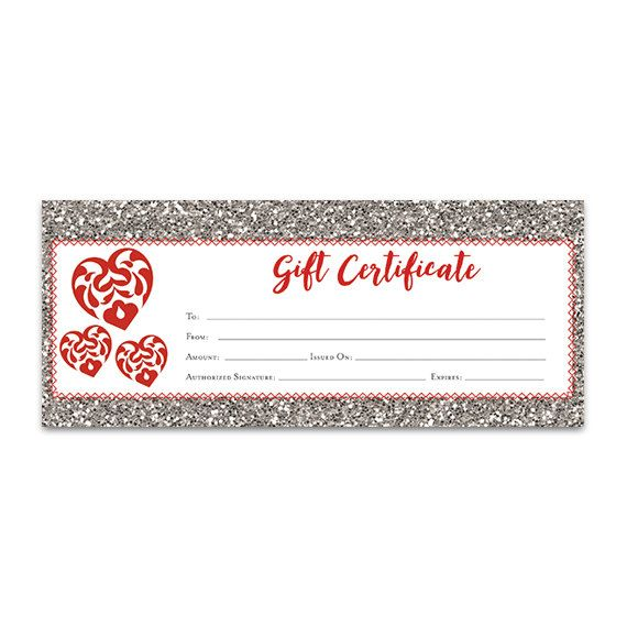 Red Heart, Glitter, Gift Certificate Download, Premade Gift - gift certificate download