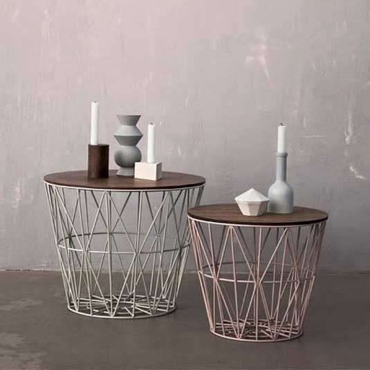 Exceptional Ferm LIVING Wire Basket Top Smoked Oak     Use These Tops On The Wire  Baskets And Turn The Baskets Into Tables.
