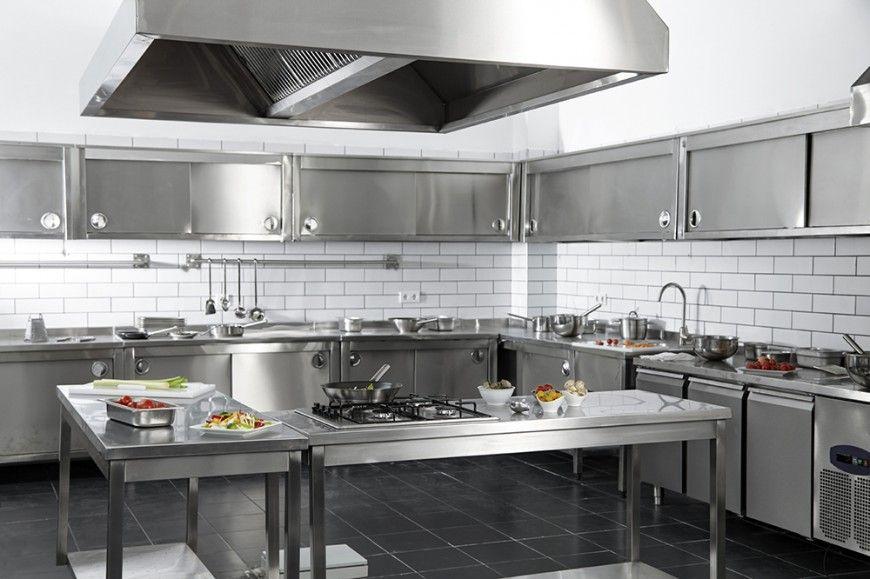 55 Gorgeous Kitchens With Stainless Steel Appliances Photos Restaurant Kitchen Design Metal Kitchen Cabinets Steel Kitchen Cabinets