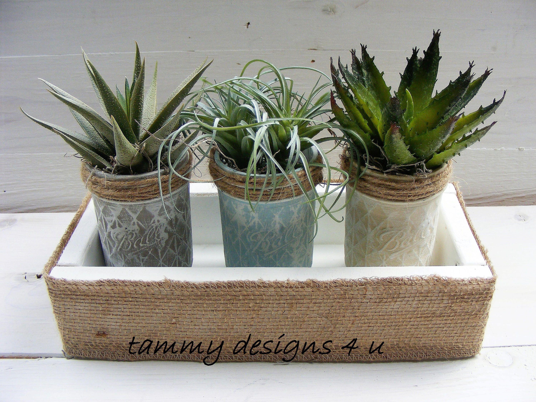 Mason Jars, Rustic Planter Box, Life Like Artifical Succulent Arrangement,