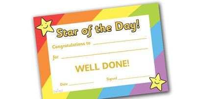 Preview Star Of The Day Award Certificate  Teaching Ideas