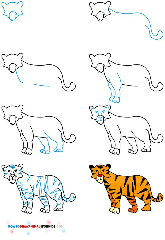 How to draw a tiger for kids how to draw animals for kids bloglovin