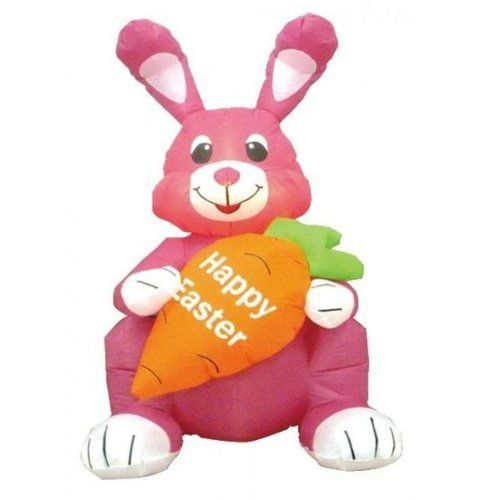 4u0027 Airblown Inflatable Easter Bunny With Carrot Lighted Yard Art Decoration  By CC Inflatables.