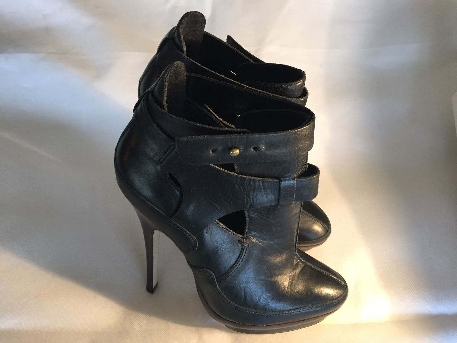 68c680bfc793c Aldo Black Leather High Strappy Ankle Boots 6