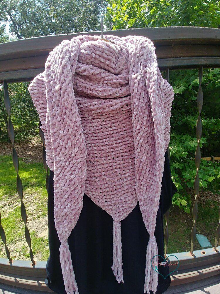 Easy Beginner Knit Shawl - Soft as Velvet Knitting pattern ...