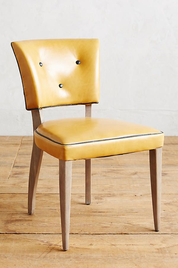 Canary Yellow Plastic Dining Chairs With Brass And Wood Live Edge