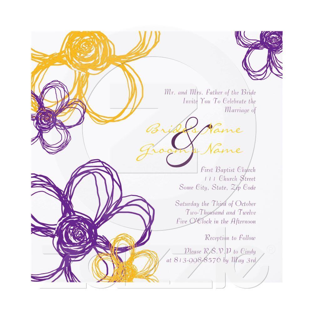 Purple and Yellow Wild Flowers Wedding Invitation from Zazzle.com ...
