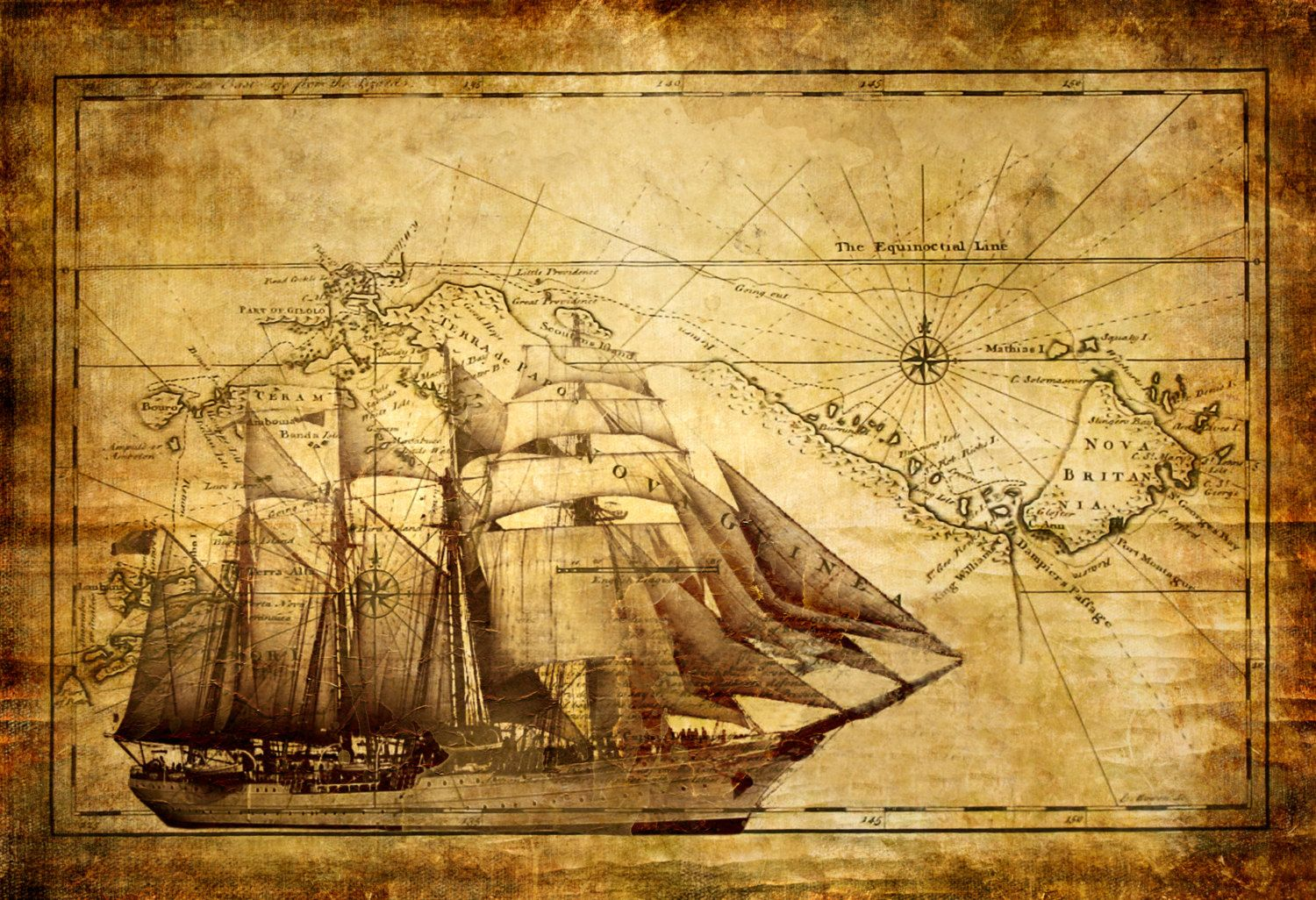 World Map Wall Art Vintage With Ship Canvas Wall Art, Wood Sign, or ...