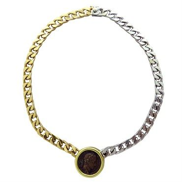 massive bvlgari necklace features severus alexander coin design and crafted in twotone 18k gold
