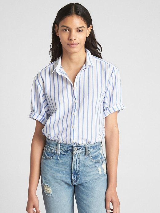 9b5c79c8 Gap Womens Short Sleeve Stripe Shirt Blue Stripe | Products in 2019 ...