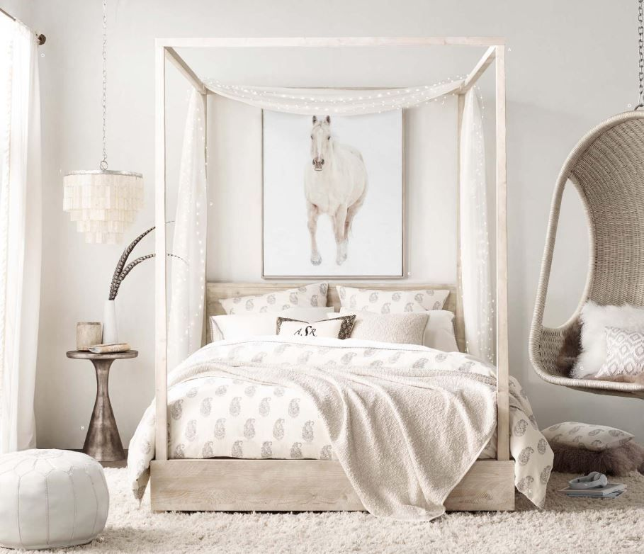 Beautiful room with the callum storage canopy bed rh - Canopy bed in small room ...
