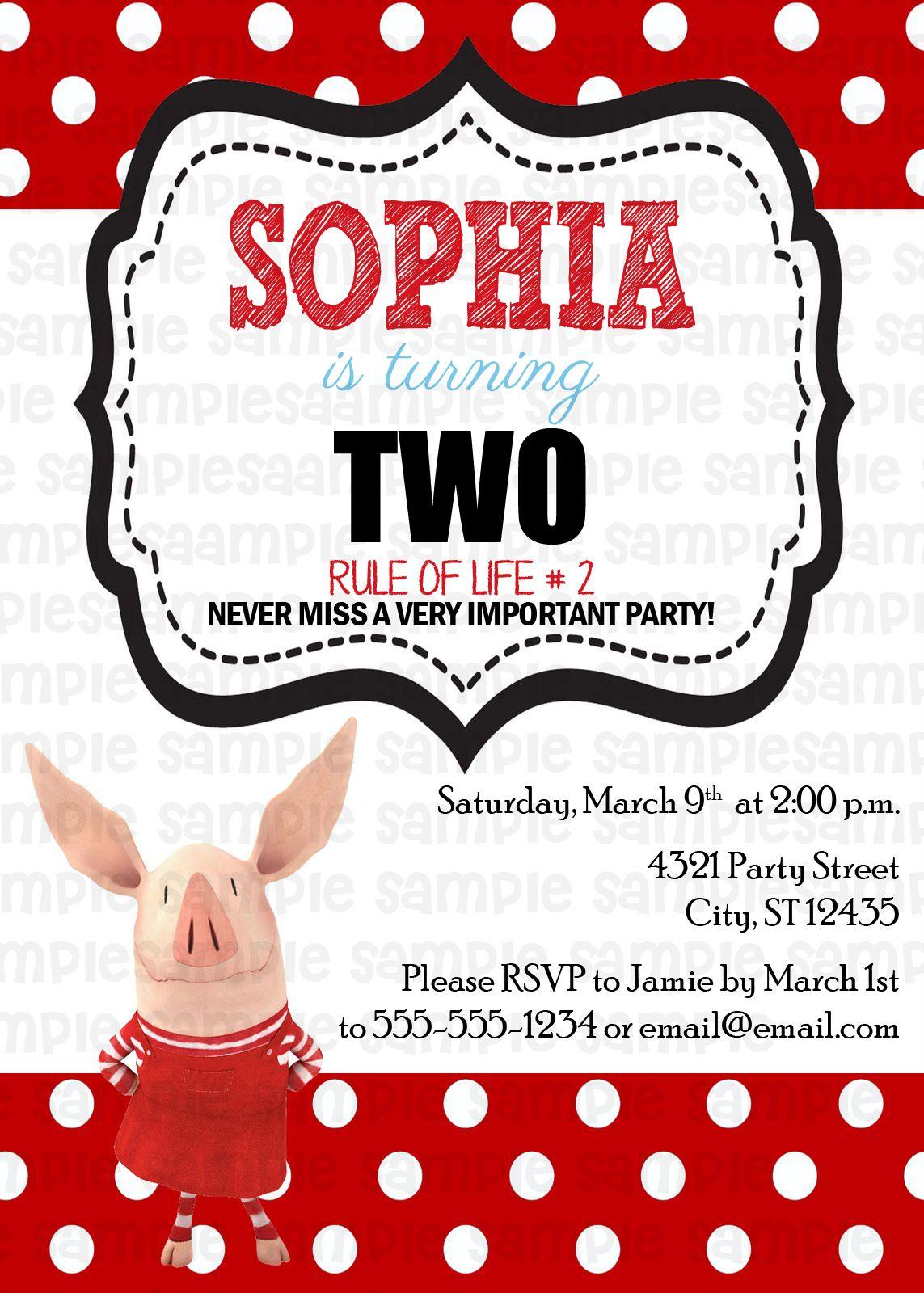 Olivia the Pig Birthday Invitation $11   Kids Birthday Invitations ...