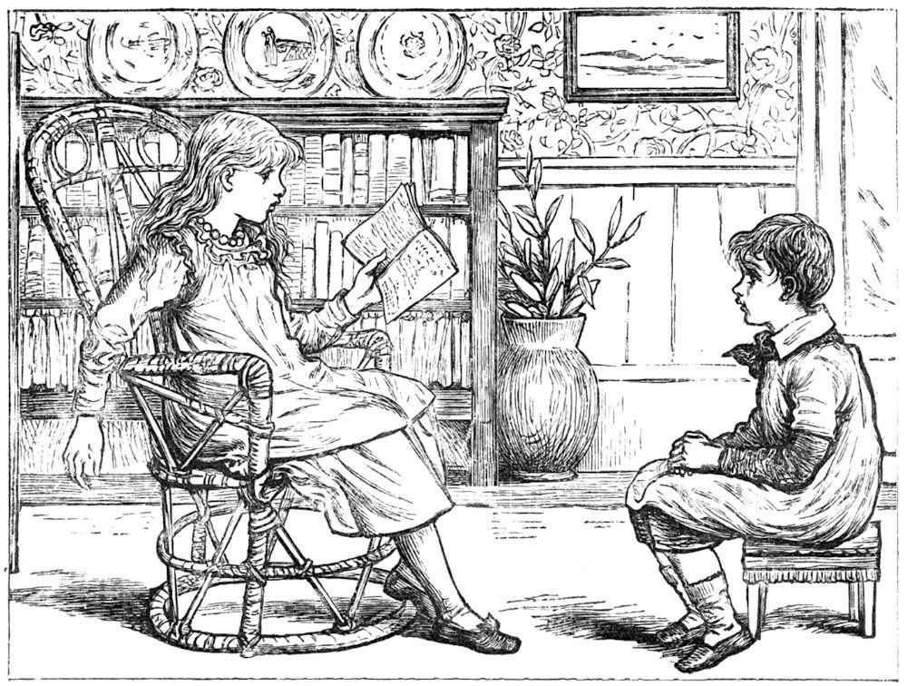Girl Reading A Book To Boy Sitting In Chair Free Antique Vintage Illustration Vintage Illustration Antique Illustration Illustration