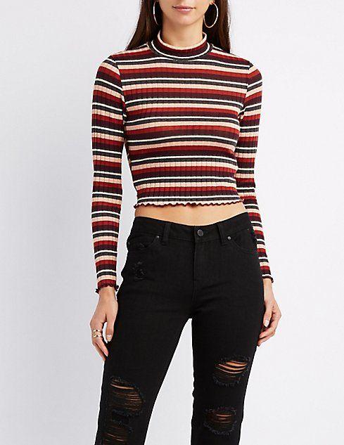 e757162ec Charlotte Russe Burgundy Top, Striped Crop Top, Stripe Top, Mock Neck,  Ribbed
