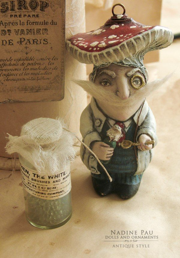 by Nadine Pau. Christmas ornaments. Pharmacist Monsieur Amanita .Papier mache, oil patina varnish. sold #christmasornaments #nadinepau