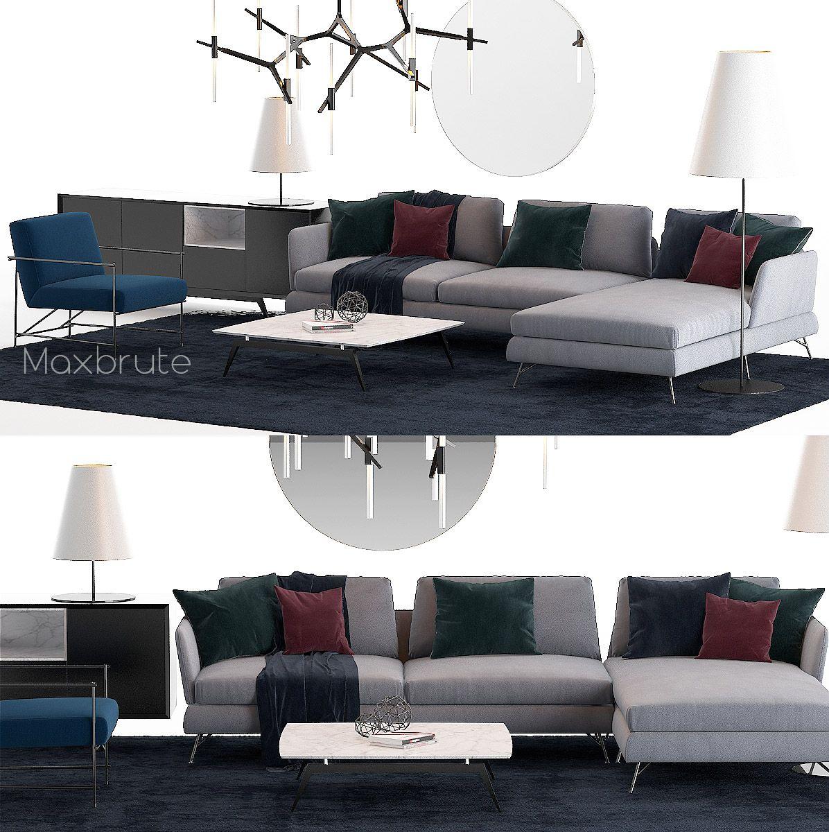 Miraculous Modern Sofa Set 3Dsmax With Featured Colors Dark Carpet Inzonedesignstudio Interior Chair Design Inzonedesignstudiocom