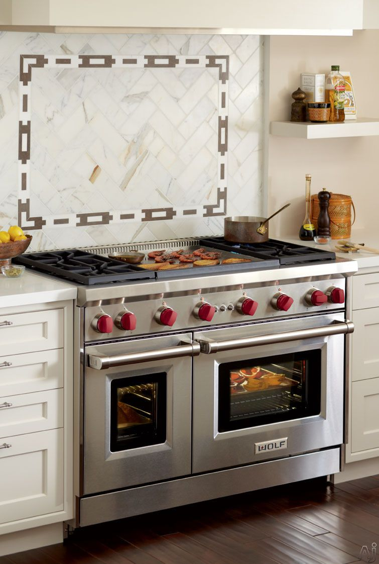Wolf Gr484dg 48 Pro Style Gas Range With 4 Dual Stacked Sealed Burners Double Griddle Cu Ft Convection Large Oven Infrared Broiler
