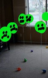 Minecraft party game idea: Helium filled balloons attached to small toys.  Give kids nerf