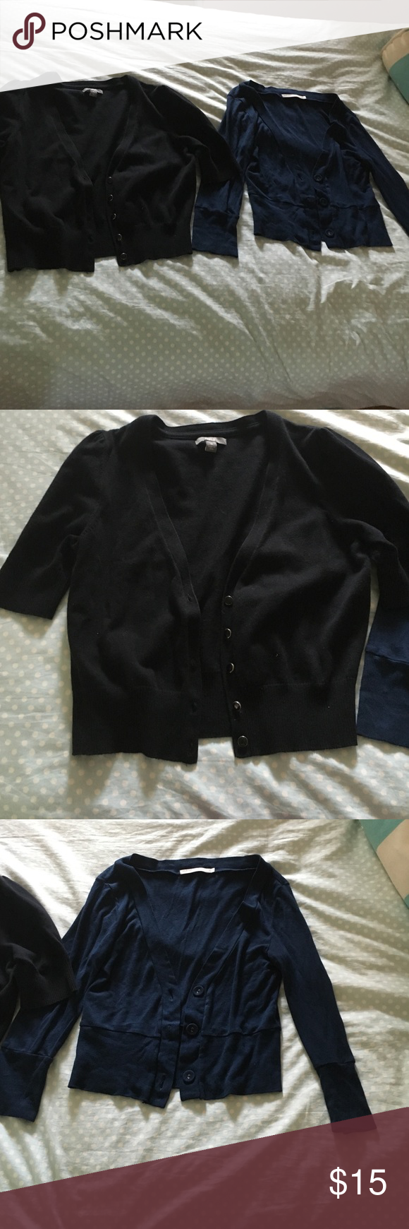 Cardigan Bundle! One black short sleeve cardigan, one blue 3/4 sleeve cardigan. Both are short, perfect to wear over dresses! Both have been gently used but all buttons are intact. Both are size medium. Make an offer! Sweaters Cardigans