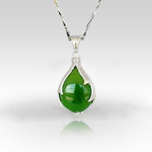 cross silver necklace natural store jade shipping beautiful product chain real fortune free lot green pendant jewelry desc