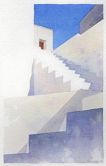 Greek Steps Watercolor Simple Yet Elegant Watercolor
