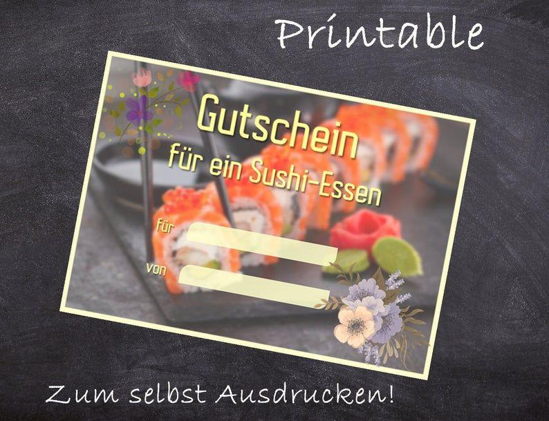 Printable Sushi Gutschein Template Zum Ausdrucken Planner Pages Printables Sushi