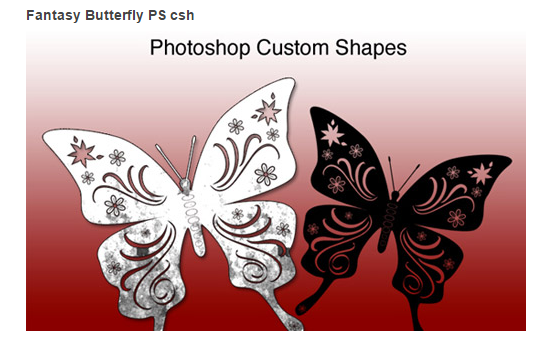 Collection of Free Butterfly Custom Shapes for Photoshop