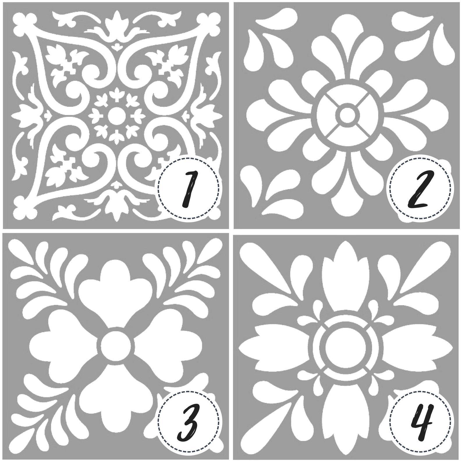 Template Or Stencil With Tile Designs And Mandalas Tile Stencil Mandala Painting Stencil For Paint In 2021 Stencil Painting Mandala Stencils Stencil Printing