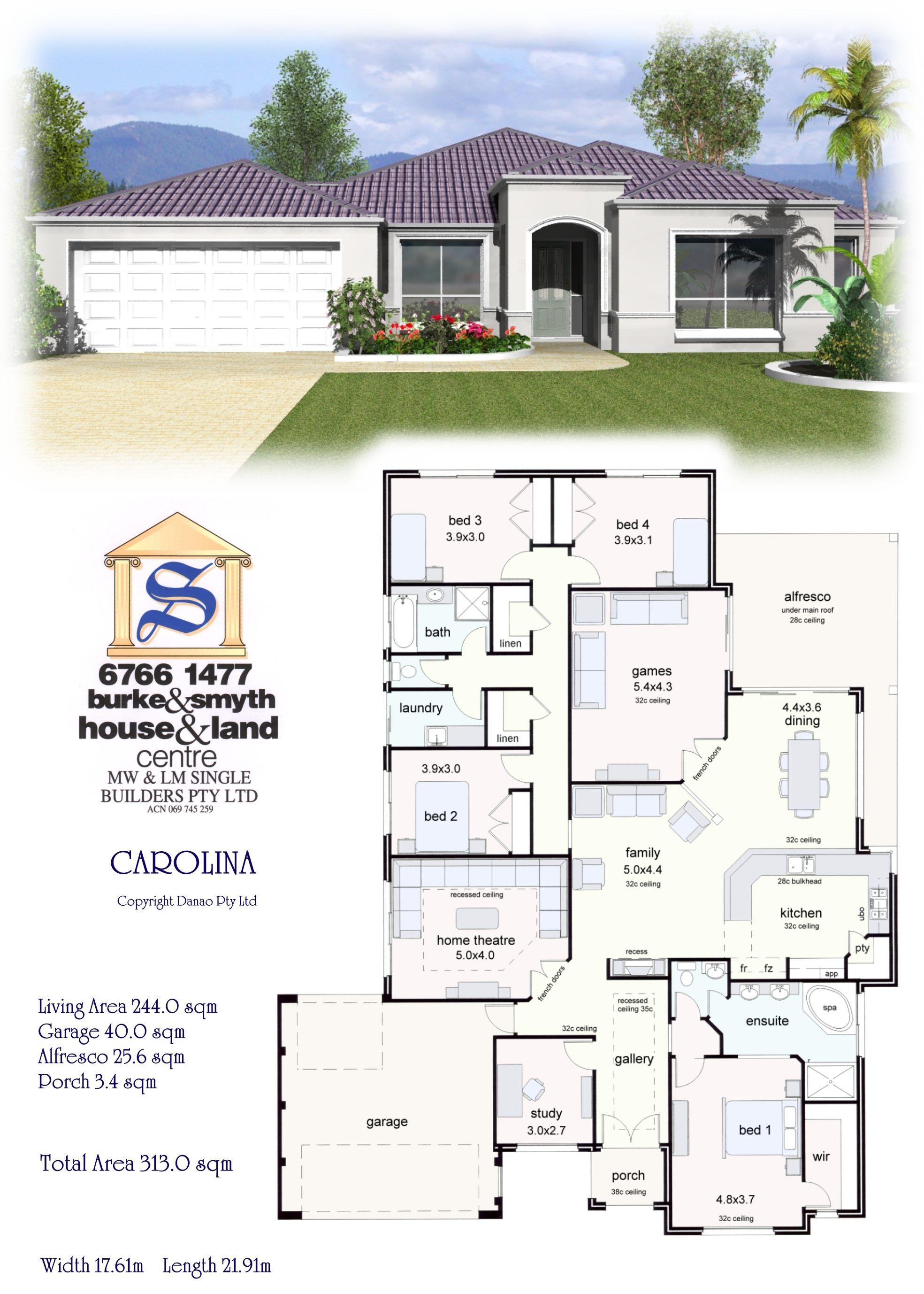 Single Builders I Caroline House Plan | house designs | Pinterest ...