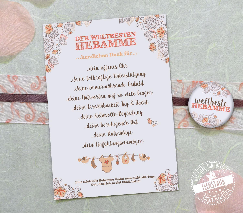 Karte Hebamme Hebammen Geschenk Danke Geschenk Geschenke