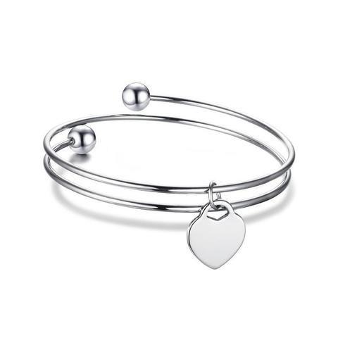 Silver Heart Shape ID Bracelet Personalized Gift For Women