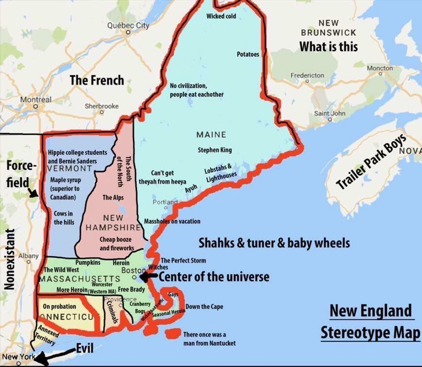 New England Area Map New England Stereotype Map   Wicked Funny Stuff TUGTA.| New
