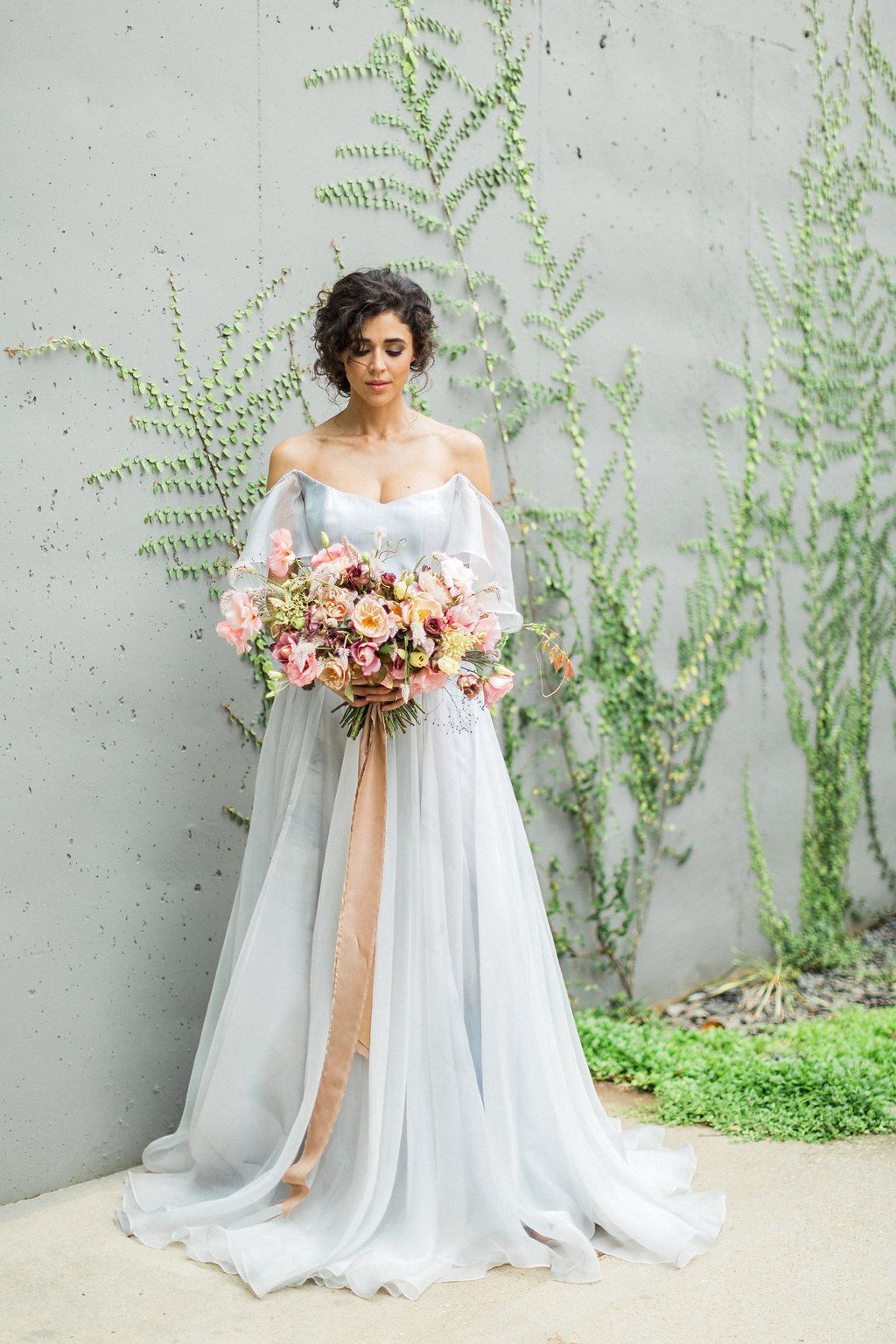 Cloudy Day Wedding Inspiration With A Hand Painted Bridal Gown Https Ruffledblog Com Painted Wedding Dress Blue Wedding Dresses Hand Painted Wedding Dress