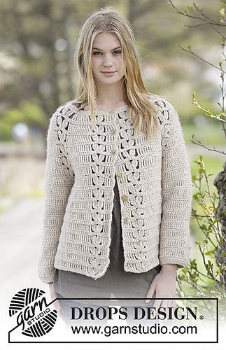 Crochet cardigan/jacket with raglan and lace pattern. Worked top ...