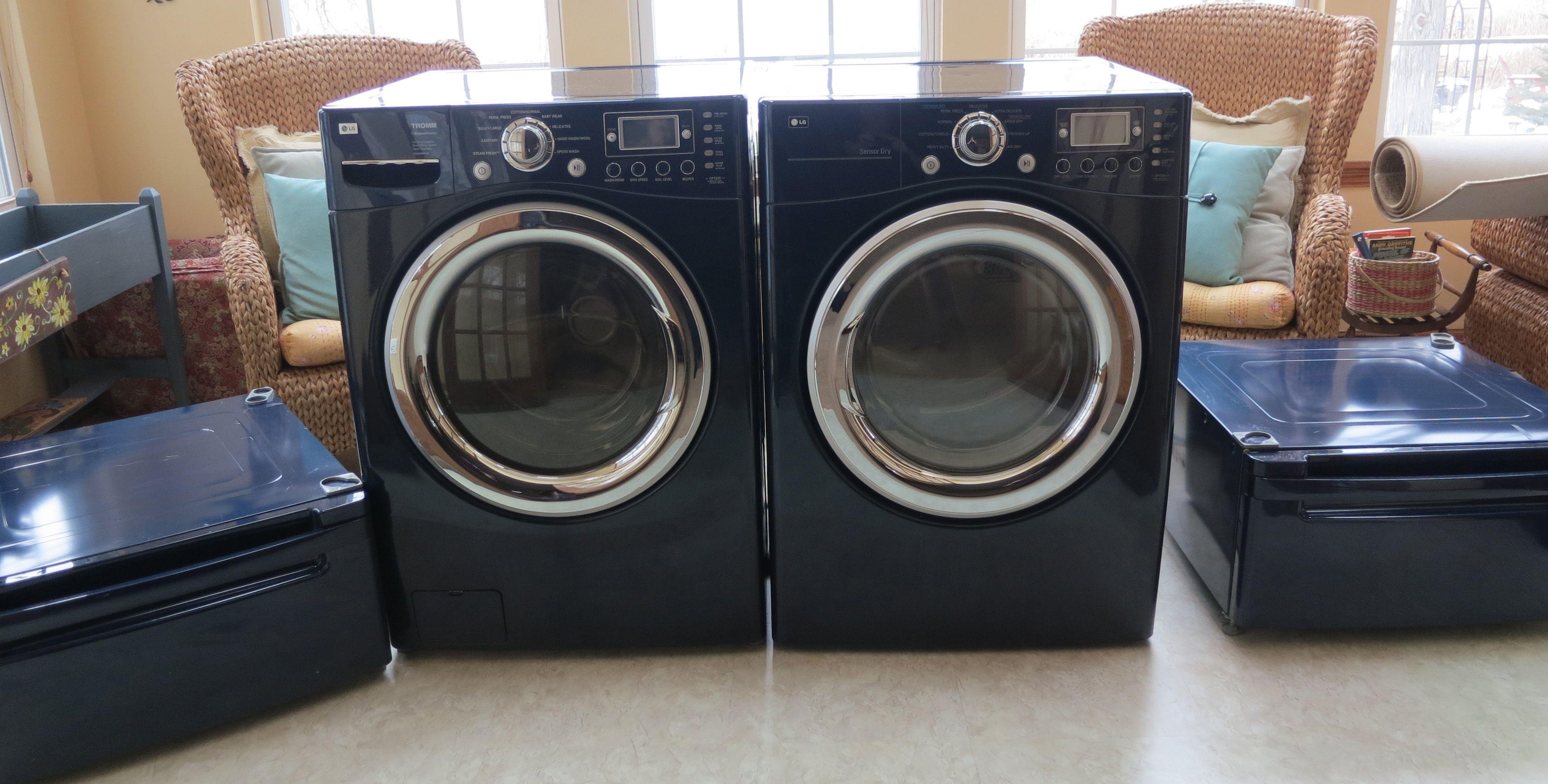 Lg Frontload Washer Dryer With Pedestals Cobalt Blue In