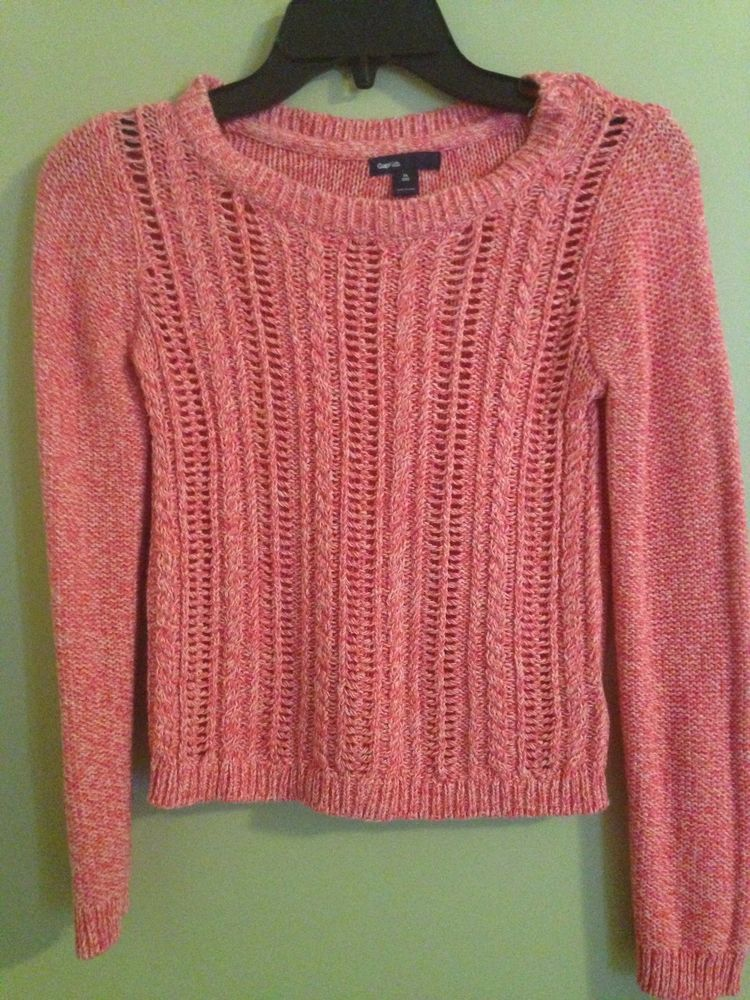 Gap Kids Loose Cable Knit Sweater Pink Marbled NWOT SZ XL 12 Crew ...