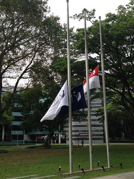 Flags at half-staff at Singapore Management University following the death of…