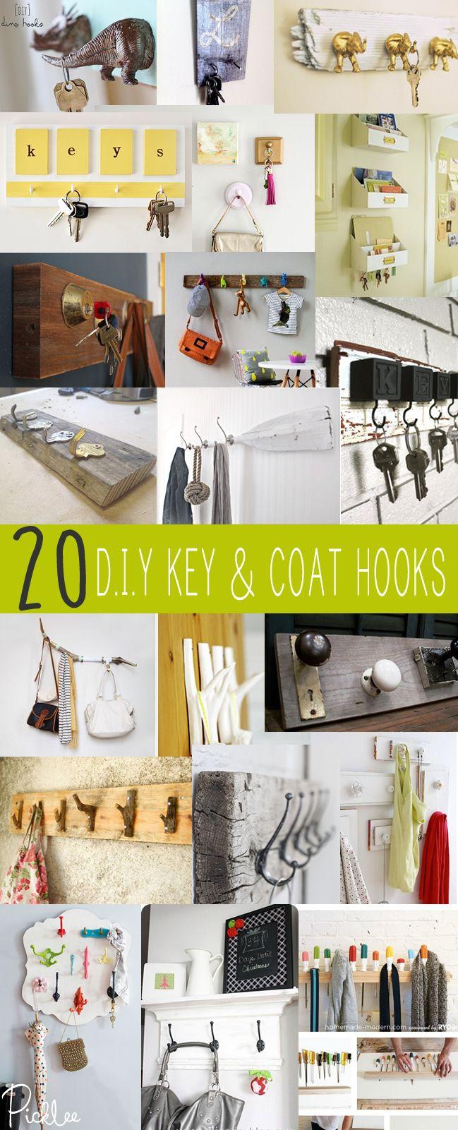 20 Awesome DIY Key & Coat Hooks | ♛ DIY\'s & Home Inspiration ...