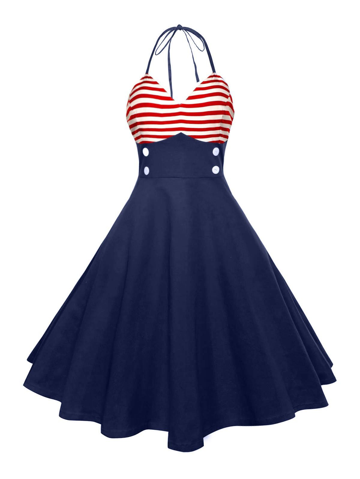 Halter American Flag Buttoned Vintage Dress | Schöne outfits, Outfit ...