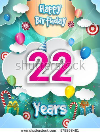 22 years birthday design for greeting cards and poster with clouds