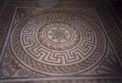 Found locally, this mosaic floor design is in very good condition ...