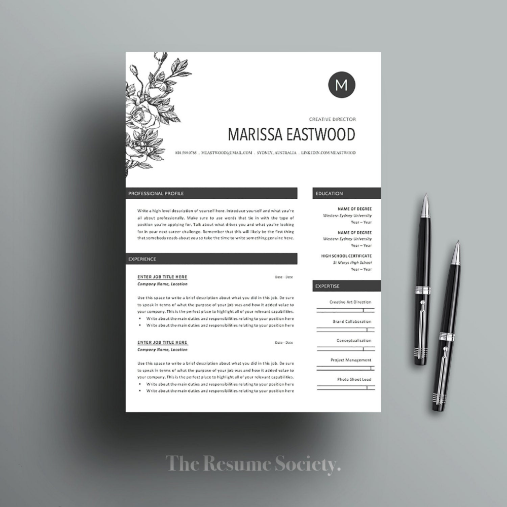 Resume Template 4 Pages Cv Cover Letter References Ms Word Instant Digital Download Creative Professional Flower Child In 2020 Resume Template Cv Cover Letter Resume Design