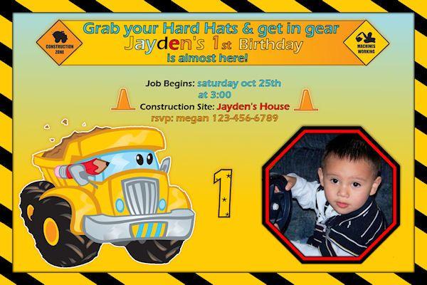 Construction Pals Custom Birthday Invitation - Printable